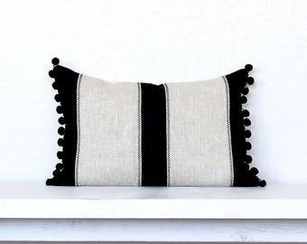 """Pom Pom Ethnic Colorblock Stripe Pillow Cover-12"""" x 20"""" -  Black Combo"""