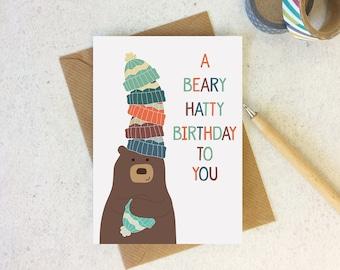 Funny Bear Birthday card - cute animal birthday - happy birthday card - birthday pun - bear lover card - friend birthday - funny card