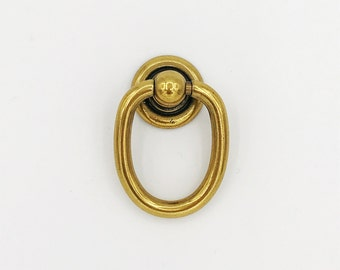 "Brass Ring Pulls ""Oval"" Hardware Cabinet Pull Drawer Pull"