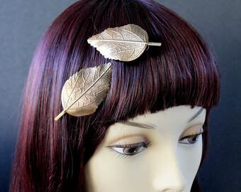 Autumn Bronze Gold leaf hair clips (1 pair) Elven Forest Leaves for Fantasy larp cosplay,stylish morigal fashion,woodsy lotd,autumn fae
