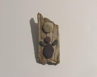 "Beach Stone Driftwood Art Magnet ""Me"""