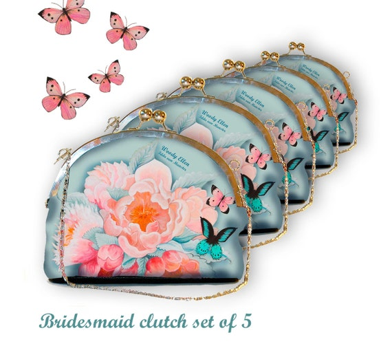 Bridesmaid clutch 5 , Idda, clutch pink blue, gift for her, gift bride, Woody Ellen bag, marriage gifts, wedding clutch, bridal bag