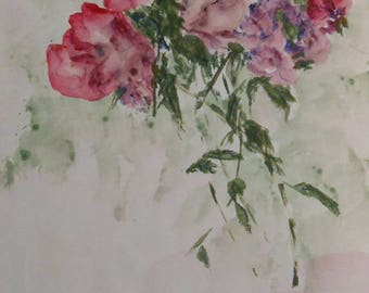vintage watercolor of roses signed
