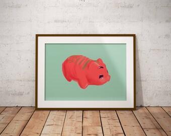 Chinese Plastic Red Piggy Bank Art Print,Hong Kong Classic Piggy Bank Wall Art, Instant DIGITAL Download Print,Decoration Art, Decor