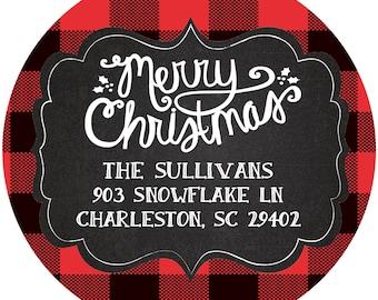 Round Christmas Stickers Labels- buffalo plaid- address- gift