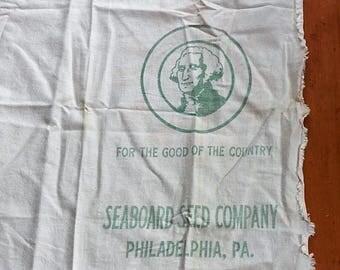 Vintage Seaboard Seed Co. Seed Bag Green Lettering Philadelphia Pa.