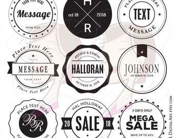 Monogram Stamp Badge Hipster Modern Retro Frames DIY Wedding Business Labels Tags VECTOR Clipart Files Circle Frame Instant Download 10201