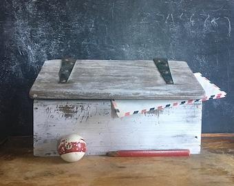 Vintage Wood Hand Made Mail Box Rustic Primitive Crude 1950s Cabin Folk Farmhouse