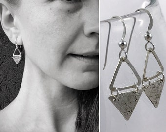 "Sterling Silver Triangle Earrings - Hammered Textured - Rustic - Hammer Formed - Geometric Earrings - ""Triangle Dangle"""