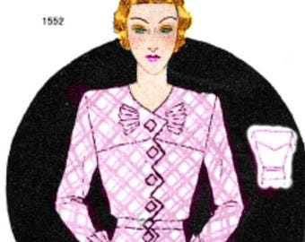 Plus Size (or any size) Vintage 1934 Blouse Pattern - PDF - Pattern No 1552 Virgie Instant Download