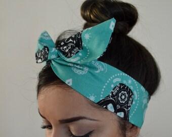 Star wars headband, Aqua blue, Mint hair bow, Dolly bow Headband, hair bow head band
