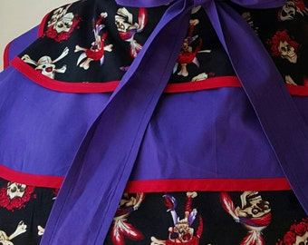Apron Skirts, Pirate Apron, Women's Apron, Gasparilla COSplay, Skulls apron skirt