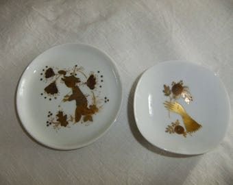 Vintage Rosenthal Studio - Linie Germany - Set of two gold decorated small plates - Björn Wiinblad design