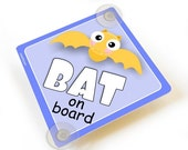 ON SALE kids cute yellow bat on board car sign, purple accents vehicle sign suction cups  - CD43C