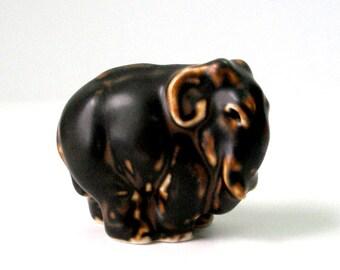 Royal Copenhagen Elephant Knud Kyhn Figure 2x3 6cm Elefant 20225 Stoneware Brown Bear Sung Glaze Caramel Matte MCM Danish Mod Signed KK Mint