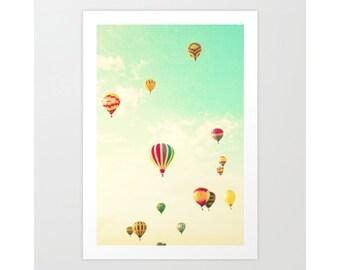 Nursery wall art, hot air ballon nursery decor, nursery wall decor, nursery prints, playroom decor, canvas art, extra large wall art