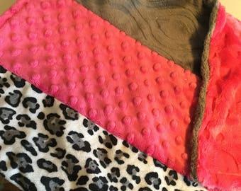 "Piecework minky blanket - Jaguar and fuchsia minky - 18"" x 30"" - one of a kind - embossed heart minky on back"