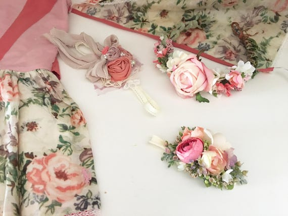 Pink coral m2m Well Dressed Wolf fairy dress headband or flower crown