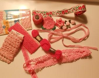 Pink inspiration bag, vintage sewing notions de stash