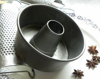 Antique Rare FRENCH Bakery Fine Deep Steel Funnel Baking Cake Pan Very Clean, No Baked on Old Blackened Grease or Rust