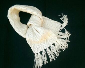 Vintage Irish Aran Fisherman Wool Scarf- Made in Ireland