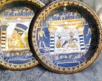 Pair Vintage Egyptian Metallic Engraved Hieroglyphics Decorative  Plates