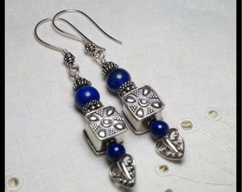 Earrings: Lapis Lazuli and Sterling Silver. Bollywood. Far East. Ethnic. Tribal. Exotic. Dangle. Blue gemstones. One of a Kind, Handmade.