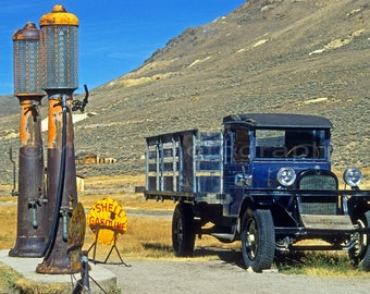 Gas Pumps Truck Bodie Ghost Town California Historical, Original Photograph, Fine Art Photography matted, signed 5x7 Original Photograph