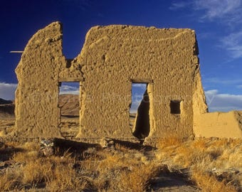 Western Decor Wild West Nevada Desert Ruins Military Fort Architecture, Fine Art Photography matted & signed 5x7 Original Photograph
