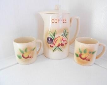 Royal Sealy Ceramic Coffee Pot and mugs, Coffee Set, Kitchenware, Kitchen Decor, Fruit, Christmas Gift
