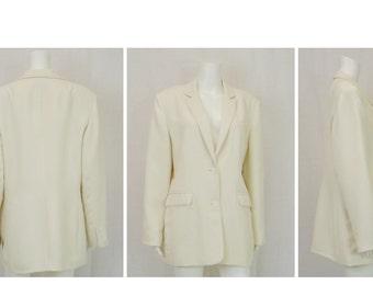 LARRY LEVINE Winter White Blazer Size 16