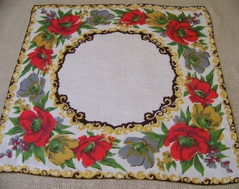 Vintage Linen Floral Hanky Fall Colors