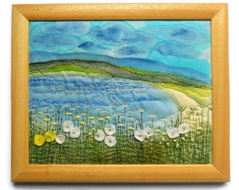 Fiber art Wall hanging Embroidery painting Textile picture