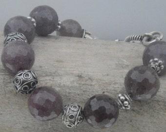 Genuine Faceted Ruby Gemstone Bali Beads Solid Sterling Silver 925 .925 Bracelet Shamballa Big Large Stack Stacking Boho Handmade Artisan