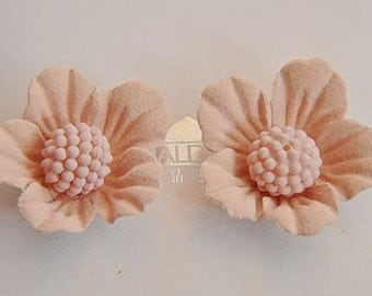 6 pcs  Hair accessories leather handmade flower  hairpin