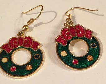 Christmas Wreath Earrings.