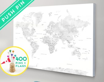 Push Pin Travel Map CANVAS World Map Watercolor Gray Countries  - World Map with Pins, Pin It Map, Pin it Adventures, Gift Idea, 240 Pins