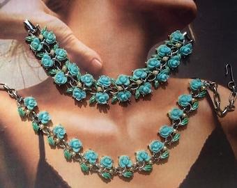 Celluloid Rose Blue Bridal Necklace Bracelet Flower Retro Vintage 1950 1960 Demi Parure Set