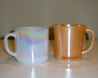 Vintage Moon Glow Luster Federal Glass Iridescent Mug or Peach Luster Fire King Mug