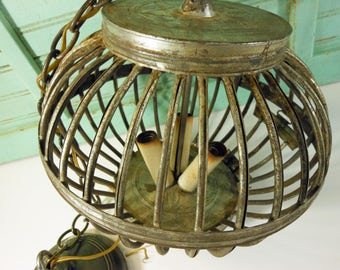 Vintage Galvanized Metal Cage Three Bulb Hanging Light, Pendant Lamp