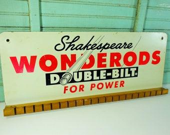 Vintage Shakespeare Wonderods Double-Bilt Fishing Pole Store Display, Fishing Rod Advertising Rack