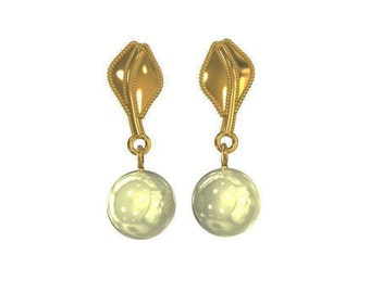 solid gold leaf pearl earrings