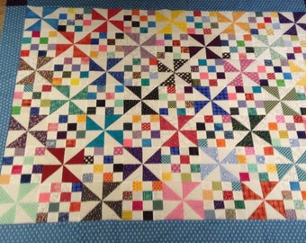 Jellybean Patches quilt top, unfinished quilt top