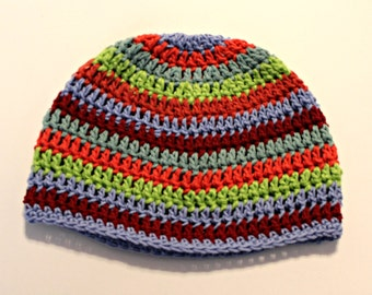 Cotton stripe beanie Hat READY TO SHIP hat for boys or girls,blue red green orange