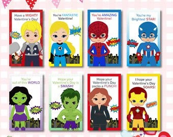 INSTANT DOWNLOAD: Marvel Valentines Day Cards, Superhero Valentine Cards, Kids  Valentine Card,