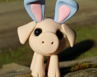 Polymer clay Easter pig