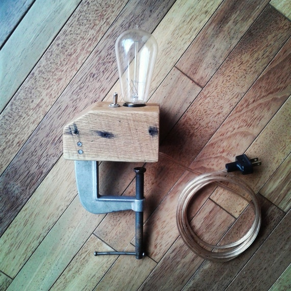 Clamp Lamp- Edison Bulb, C-Clamp, Toggle Switch, Reclaimed Oak