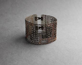 SCHEME Wide Mens Statement Copper Bracelet - Unusual Copper Wire Crocheted Cuff Bracelet - Unique Industrial Mens Bracelet - Mens Jewelry