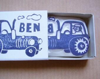 name stamp tractor, handcarved, custom made name stamp, Ben