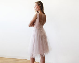 Backless baby pink tulle midi dress, Bridesmaids pink sleeveless open back tulle gown 1087